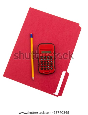 Red calculator and file folder - stock photo