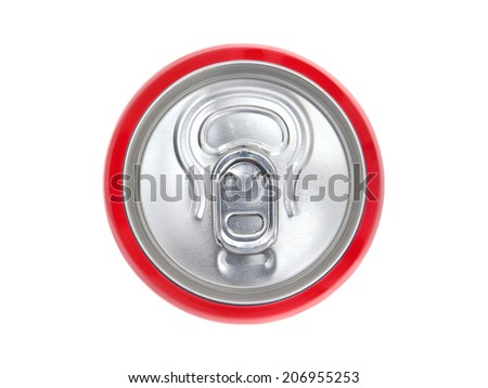 Red can of soda, view from the top - stock photo