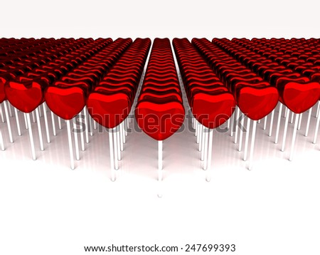 Red candies on a stick on white background. Many sweetmeats. 3D render. - stock photo