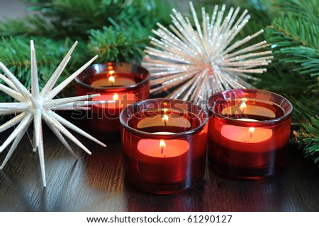 red candles christmas tree - stock photo