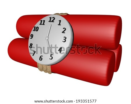 Red candles of dynamite with clock, isolated over white, 3d render - stock photo