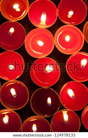 Red candles. View from the top. - stock photo