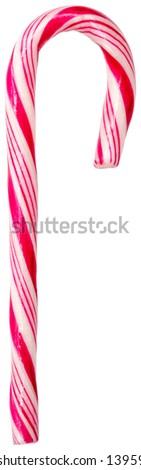 Red Candy Cane - stock photo