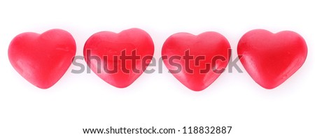 red candy hearts isolated on white - stock photo