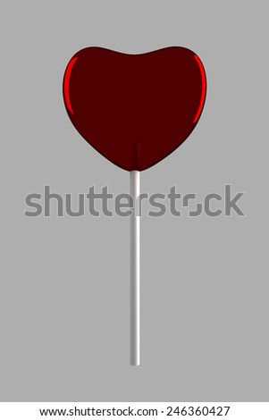 Red candy on stick on gray background - stock photo