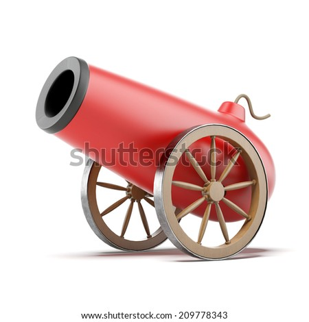 Red cannon - stock photo