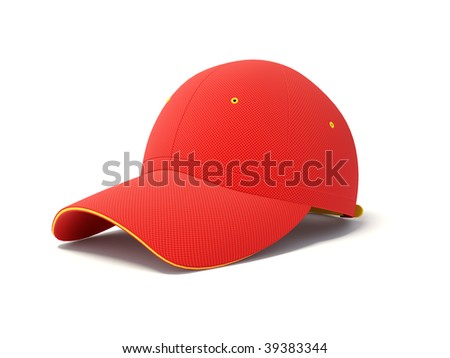 red cap on white background - stock photo