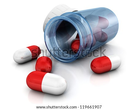 red capsule pills scattered from blue glass bottle - stock photo