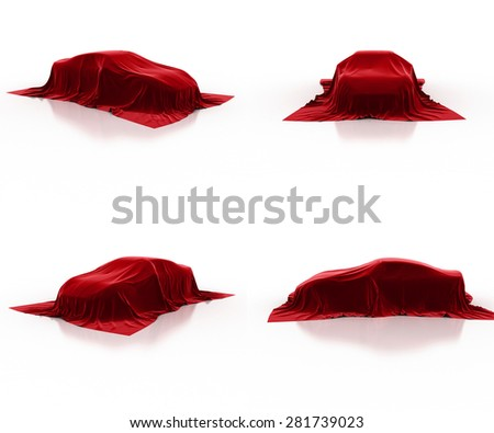 red car covered cloth - stock photo