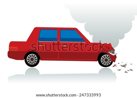 red car crush, crushed car - stock photo