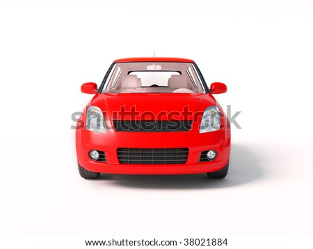 red car on isolated background - stock photo