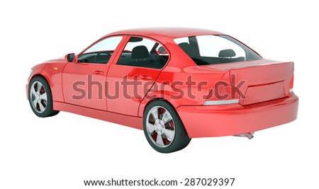 Red car on isolated white background, back view - stock photo