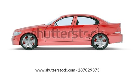 Red car on isolated white background, side view - stock photo