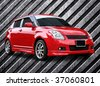 red car on metal background - stock photo