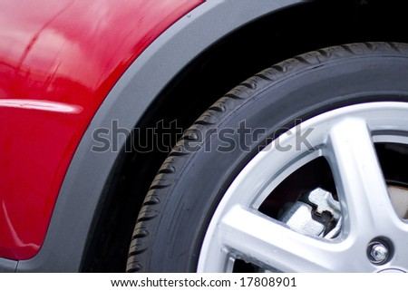 red car wheel - stock photo