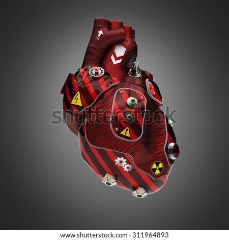 Red carbon and striped car paint cyborg techno heart with warning signs - stock photo