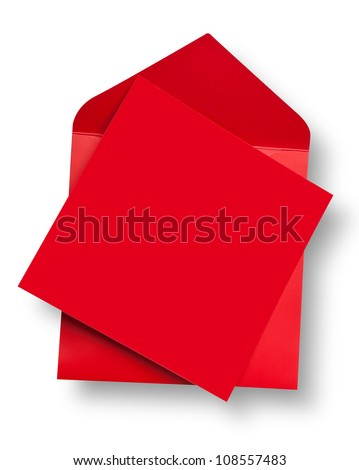 Red card and envelope with shadow (clipping path) - stock photo