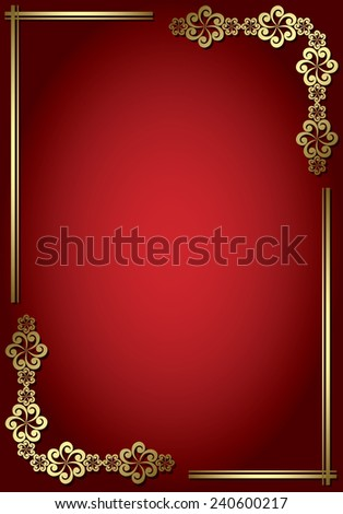 red card with golden frame - stock photo