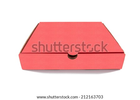 Red cardboard box isolated on white background  - stock photo