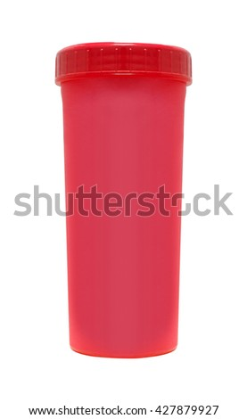 Red cardboard cup. Isolated on a white - stock photo