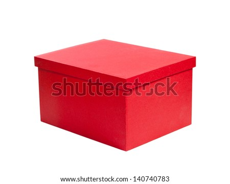 red cardboard gift box. packaging for shopping and gifts - stock photo