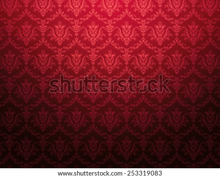 Red cardinal wallpaper with red floral pattern - stock photo