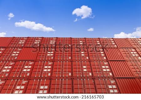 red cargo blocks  - stock photo