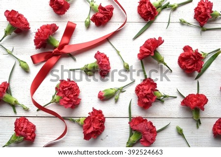 Red carnations with ribbon - stock photo