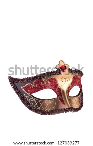 Red carnival mask on white - stock photo
