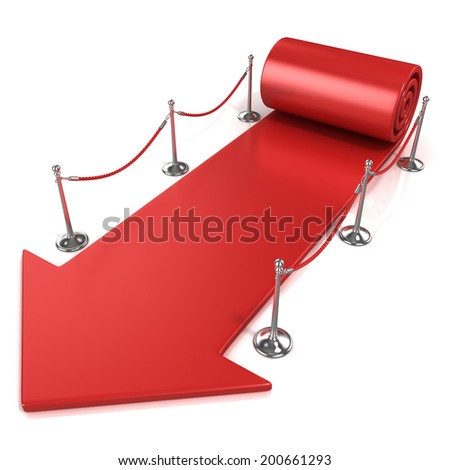 Red carpet arrow, isolated on white, side view - stock photo
