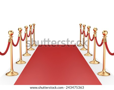 red carpet between two gold stanchions with rope. 3d illustration - stock photo
