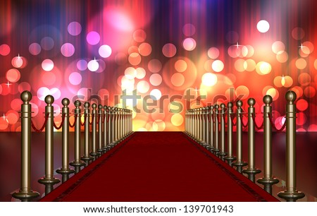 red carpet entrance with the stanchions and the ropes. Multi Colored Light Burst over curtain - stock photo