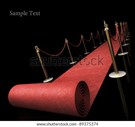 Red carpet isolated on black background High resolution. 3D image - stock photo