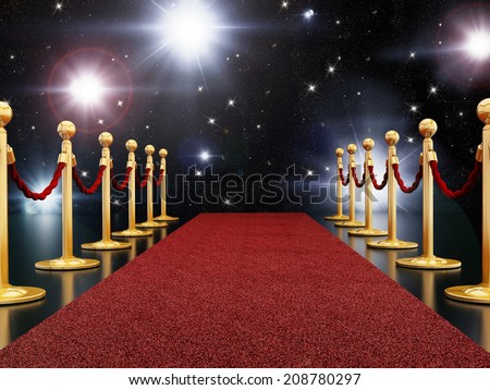 Red carpet night illuminated with flashes - stock photo