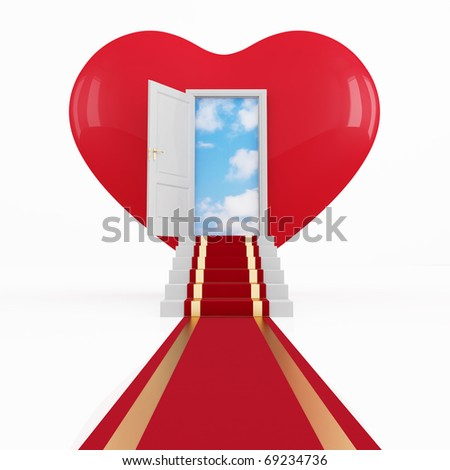 red carpet on a stair in front of an opened door in a heart -rendering - stock photo