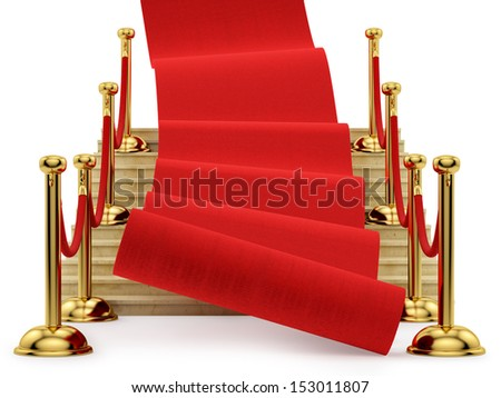 red carpet rolling down the stairs, isolated on white - stock photo