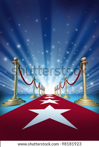 Red carpet to the movie stars with an entertainment theater design background with gold roped barriers and radiating spot lights with shiny sparkles as an important event with cinematic fun. - stock photo