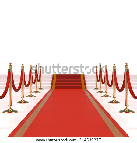 Red carpet with red ropes on golden stanchions. Exclusive event, movie premiere, gala, ceremony, awards concept. Blank template illustration with space for an object, person, logo, text. - stock photo