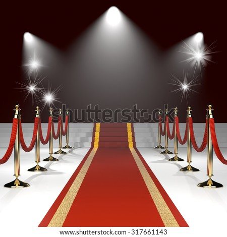 Red carpet with red ropes on golden stanchions on black background with lights. Exclusive event, movie premiere, gala, awards concept. Blank template illustration with space for an object, logo, text. - stock photo