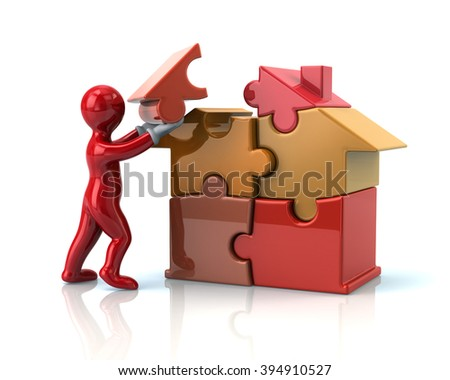 Red cartoon man builds a puzzle house isolated on white background - stock photo