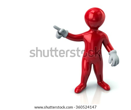 Red cartoon man  pointing with his index finger on white background - stock photo
