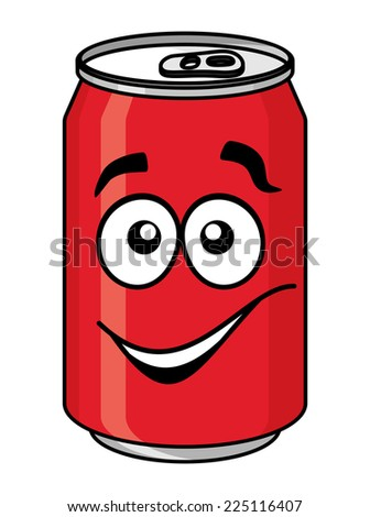 Red cartoon soda or soft drink can with a smiling face isolated on white for fast food design - stock photo