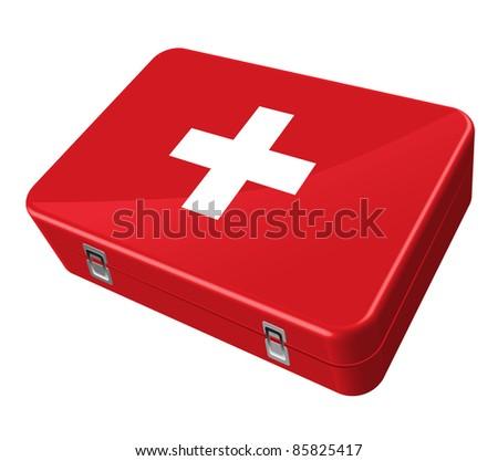 red case, white cross - stock photo