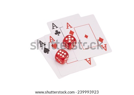 Red Casino Dice And Four Aces Playing Cards  - stock photo