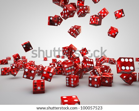 red casino dices falling down on floor - stock photo