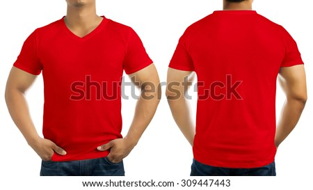 Red casual t-shirt on men's body isolated on white background, front and back. - stock photo