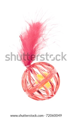 Red Cat Toy with Bell and Feather Isolated on White. - stock photo