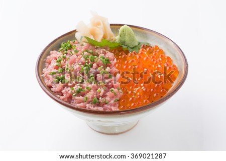 Red caviar and negitoro tuna, sashimi raw fish seafood rice bowl -sashimi on rice, donburi, japanese food - stock photo