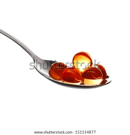 Red caviar close-up isolated on white background - stock photo