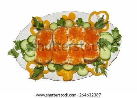 Red caviar sandwiches on plate - stock photo